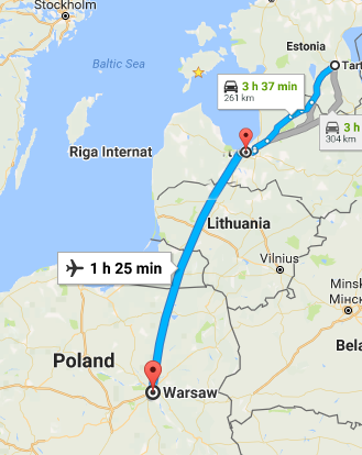 Trip route from Tartu to Warsaw